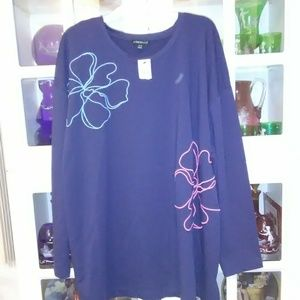 A beautiful embroidered flower swing sweatshirt